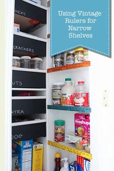 Have a pantry or closet that can use narrow shelves for additional storage? Utilized vintage rulers prevent items from being bumped or knocked off plus a rainbow of color. | Pretty Handy Girl | #prettyhandygirl #pantryideas #kitchenpantry #kitcheninspiration #diypantry #diykitchen Kitchen Pantry, Diy Kitchen, Kitchen Reno, Kitchen Ideas, Fridge Organization, Business Organization, Organizing, Pantry Inspiration, Holiday Storage