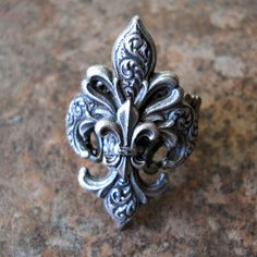 Steampunk Goth Fleur de Lis Ring ORIGINAL EXCLUSIVE DESIGN-Unisex-Steampunk Chic. $21.00, via Etsy.