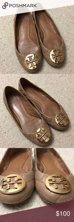 Nude Quilted Tory Burch Ballet Flats