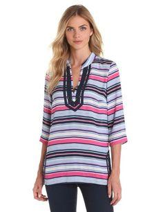 NAUTICA Womens Striped Navy Blue Pink Embellished Jewels $99 NEW Tunic Shirt L  #Nautica #Tunic #Career
