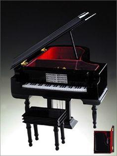 Custom grand wood black piano music box with jewelry space