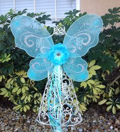 Turquoise Blue Fairy Wings Yellow Tinkerbell by partiesandfun, $9.00. Also check out my shop for more fun ideas. wwwpartiesandfun.etsy.com