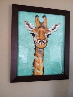 giraffe painting original on acrylic canvas