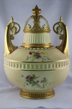 Royal Worcester Porcelain Twin Handled Pot Pourri, : Lot 126A