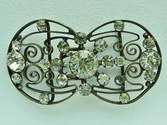 Art Deco Czechoslovakia Rhinestone Belt Buckle