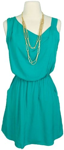 In love with this dress. Simple, teal, love it. #GUESScolor