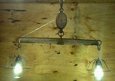 Repurposed Pulley Pendant Yoke Light