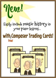 Printable Trading Cards To Make Music History More Relevant For Your Students - Teach Piano Today Music Lessons For Kids, Music For Kids, Piano Lessons, Piano Quotes, Lets Play Music, Piano Teaching, Teaching Tools, Teaching Ideas, Music Worksheets