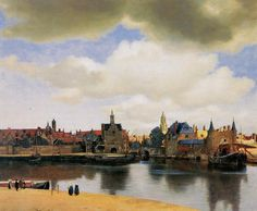 """Johannes Vermeer """"View of Delft"""" 1660-1661. Oil on canvas in Mauritshuis, The Hague."""