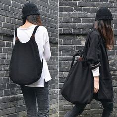 Handmade Black Knit 2 ways Bag- Tote Bag and Backpack/ Fashion Stylish/ Urban Chic/ Unisex/ Work Bag/ ipad Bag/ Simple/ Design with Detail