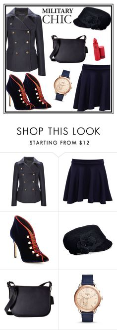"""""""Military Chic"""" by tlb0318 on Polyvore featuring French Connection, Pilot, Gianvito Rossi, Betmar, Coach, FOSSIL and Lipstick Queen"""