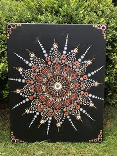 """This beautiful dot mandala art is hand painted with acrylic on 16"""" x 20"""" canvas. Took 10 hours to precisely create this mandala. Buddha Painting, Mandala Painting, Mandala Art, Craft Supplies, Dots, Bronze, Hand Painted, Create, Canvas"""