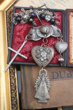 Religious Assemblage Ex Voto necklace Reliquary Necklace Red Jewelry, Gothic Jewelry, I Love Jewelry, Heart Jewelry, Statement Jewelry, Jewelry Art, Vintage Jewelry, Handmade Jewelry, Jewelry Making