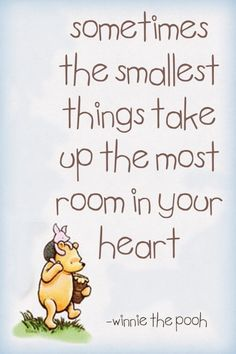 Sometimes the smallest things take up the most room in your heart Cute #quote about #depression