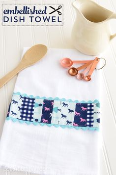 Take plain dish towels and add embellishments with bits of fabrics and trims. #sewing #kitchen
