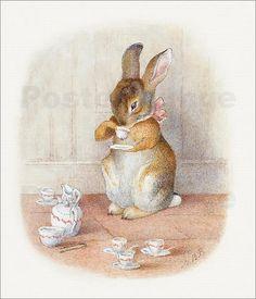 Poster / Leinwandbild Tee trinken - Beatrix Potter