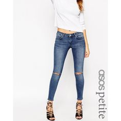 ASOS PETITE Whitby Jean in Trent Mid Wash with Shredded Knees ($48) ❤ liked on Polyvore
