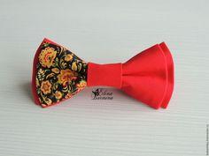 Купить Бабочка галстук с хохломой, хлопок - ярко-красный, рисунок, черный, желтый, хохлома