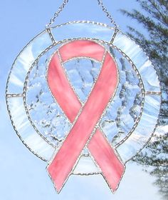 """Stained Glass Suncatcher - Awareness Ribbon - Pink Ribbon Breast Cancer Symbol - 8 1/2"""" x 9 1/2"""" - $36.95  - Handcrafted Stained Glass Designs  * More at www.AccentOnGlass.com"""