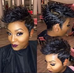 Short black hair styles 2018 - New Hair Styles ideas Short Sassy Hair, Short Hair Cuts, Short Hair Styles, Cute Hairstyles For Short Hair, Pretty Hairstyles, My Hairstyle, Hair Affair, Relaxed Hair, Great Hair