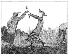 """His tale of """"The Deranged Cousins"""" (above) killed them off in typical Gorey fashion: the macabre infused with humor. This drawing is part of..."""