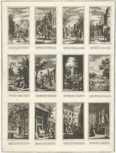 anoniem | Hollandse vermaken in de twaalf maanden, ca. 1750, attributed to Jan Caspar Philips, 1740 - 1760 | Blad waarop twaalf uitgeknipte prentjes met bijbehorende tweeregelige versjes zijn geplakt. Elke voorstelling van een maand met de daarbij behorend vorm van vermaak, ca. 1750.
