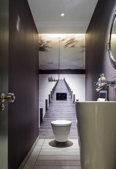 No tiles in the guest bathroom. The small room gets a great depth effect. # Guest toilet - ALL ABOUT Small Toilet Room, Guest Toilet, Downstairs Toilet, Small Toilet Design, Downstairs Cloakroom, Deco Wc Original, 3d Wallpaper Design, Wallpaper Murals, 3d Wallpaper For Bathroom