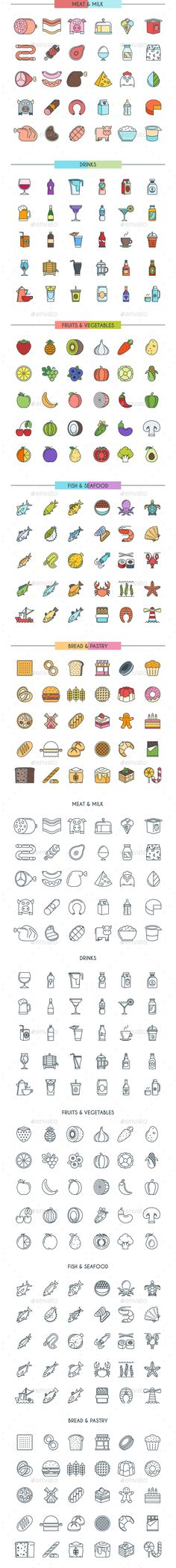 Food and Drinks Icons by Genestro 300 Food and Drinks Icons, Color and Black Versions. Perfectly to your website, logos, advertisement, promotion material, sticker