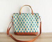 Crossbody bag Canvas and Leather Handbag Tote bag Handprinted Raindrop pattern Casual handbag