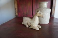 Folk Art Horse // Vintage White Horse // by StoneHouseArtifacts