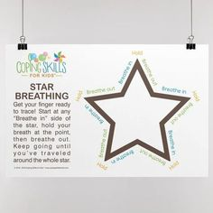 """Original Star Deep Breathing Poster 11"""" x 17"""" Anger Coping Skills, Coping Strategies For Stress, Coping With Stress, Behavior Management, Stress Management, School Counseling Office, Dealing With Anger, How To Handle Stress, Deep Breathing Exercises"""