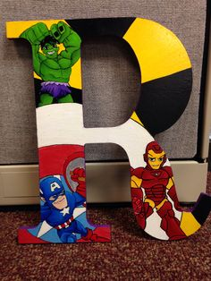 The Avengers Ironman, Captain America, and the Hulk hand painted letters that glow in the dark by Kasiopia. kasiopiaa@gmail.com. Painted letters , custom letters , nursery letters , wood letters, letters.