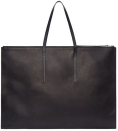 Rectangular leather portfolio bag in black.  Stone washed 'vintage' effect throughout. Zip closure and carry handles at top. Tonal accent stitching at bag face. Zip and welt pockets at suede interior. Tonal stitching. Approx. 26