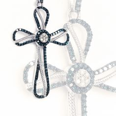 Let your faith shine. Diamond cross studded with hundreds of blue and white gems. Diamond Cross, Prague, Garnet, Luxury Fashion, Gems, Blue And White, Faith, Necklaces, Colour