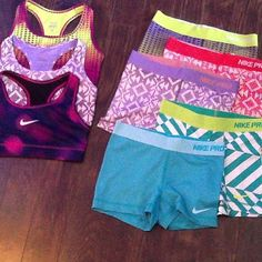 I have an obsession with nike sports bras and nike pro spandex shorts.
