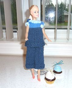 Barbie Clothes  Blue Knit  Pant and Top by SouthamptonCreations, $5.25