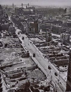Wolfgang Suschitzky, From St Paul's: the eastwards view from St Paul's cathedral towards Tower Bridge shows post-Blitz London, Vintage London, Old London, Blitz London, Victorian London, East London, London History, British History, Uk History, London Pictures