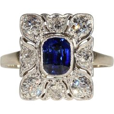 Antique Belle Époque Sapphire and Diamond Engagement Ring in 18k Gold and Platinum