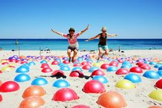 Dream Big, Do Big: an example of inspiration, imagination & perspiration Valencia Beach, Cottesloe Beach, Aboriginal Dot Painting, Sea Sculpture, Wonderful Dream, Interactive Installation, Art And Technology, Dream Big, Things That Bounce