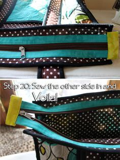 Shows how to sew zipper in purse. Looks professional.