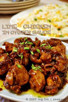I love oyster sauce chicken 2 pcs. chicken breast, cut into serving portion 2 cloves garlic, minced 1 small onion, sliced 1 tbsp. ginger, minced 1/4 cup oyster sauce salt and freshly ground pepper 1-2 pcs. lime 1 tbsp. butter 2 tbsp. cooking oil