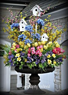 Urn Decorations For Spring Here's A Great Idea For A Spring Urn Arrangement With A Custom