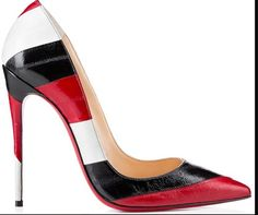 red, black and white stripe stilletto
