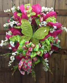 Lime butterfly mesh wreath by WilliamsFloral on Etsy