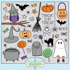 Adorable and spooky doodled clip art for Halloween. Digital stamp versions of…