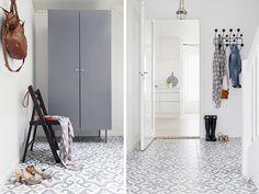 White, Beige and Gray - COCO LAPINE DESIGNCOCO LAPINE DESIGN Entry Stairs, Entry Hallway, Ikea, Small Loft Apartments, Tiled Hallway, Hallway Inspiration, Grey Flooring, Floors, Floor Patterns