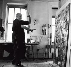 Hans Hoffman in his studio 1957 NYC
