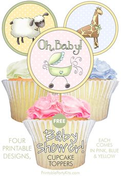 FREE Printable Pink, Blue and Yellow Baby Shower Cupcake Decorations | Looking for baby shower ideas? These cute printable baby shower cupcake decorations are a fun way to create unique baby shower food! They come in a set of 12. The designs include a giraffe, a lamb, a baby carriage and a bird. | There is also a matching FREE square printable invitation.  #BabyShower #BabyShowerIdeas #BabyShowerThemes #CupcakeDecoration #CupcakeIdeas Baby Shower Cupcakes Decorations, Baby Shower Cupcake Toppers, Fun Cupcakes, Baby Shower Printables, Party Printables, Baby Shower Themes, Shower Ideas, Baby Shower Yellow, Unique Baby Shower
