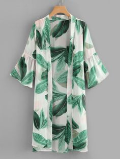 Stagioni Fashion for Women, Resortwear and Beachwear for Women. Item: Leaf Print Flounce Sleeve Kimono for Women Kimono Outfit, Casual Hijab Outfit, Kimono Cardigan, Kimono Fashion, Hijab Fashion, Love Fashion, Fashion Clothes, Kimono Top, Fashion Dresses