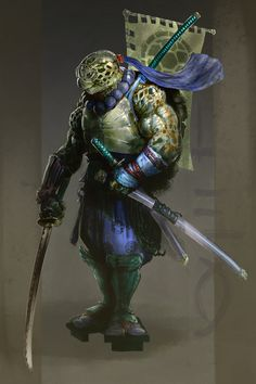 Leonardo De Vinci was a famous artist, Kevin Eastman and Peter Laird were artists of a famous comic series, and Leonardo is also a famous killer reptile that protects the world and eats pizza. Guess who the fan art is of.